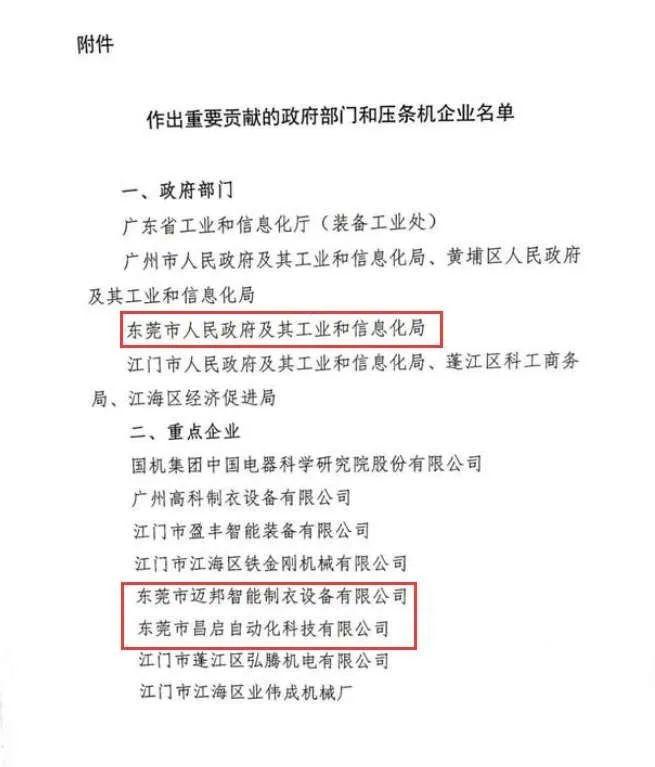 东莞市昌启自动化科技有限公司被国务院发函点名表扬!
