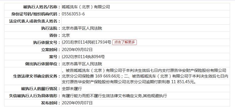 58同城关联公司呱呱洗车成失信被执行人 姚劲波持股18.52%